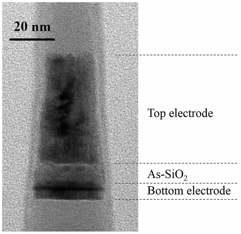 SK Hynixが25nmのCMOS技術によって試作したセレクタの断面観察像(電子顕微鏡による観察像)。トップ電極とボトム電極はいずれも窒化チタン(TiN)である。IEDM実行委員会が報道機関向けに発表した資料から