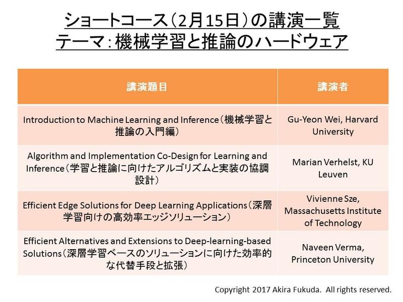 ショートコースの講演テーマ一覧。2月15日に開催される。参加者は午前から午後にかけて、4本の講演を受講する