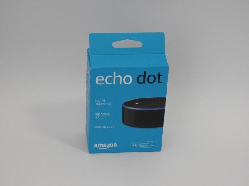 Echo Dotのパッケージ。パッケージも日本語化されている