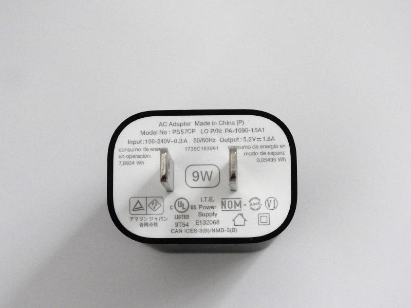 Echo Dot付属のACアダプタは9W仕様である