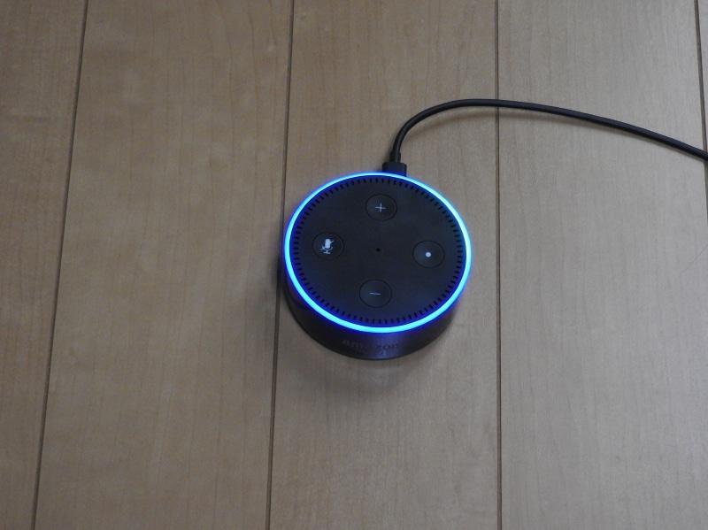 Echo Dotに「Alexa」と呼びかけると、Echo Dotのライトリングが青く点灯し、認識した話者の方向が水色に点灯する