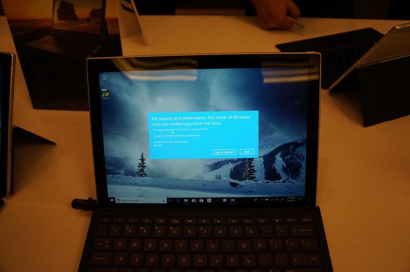 Windows 10 S(x86版だろうが、Arm版であろうが)では、デスクトップアプリケーションの起動はこのように制限されている。