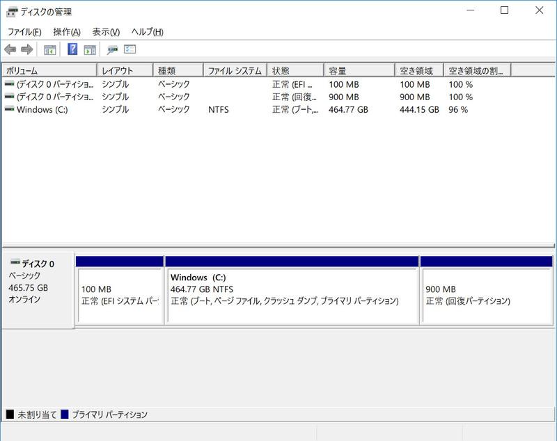 ストレージのパーティションは、C:ドライブのみの1パーティションで約464.7GBが割り当てられている