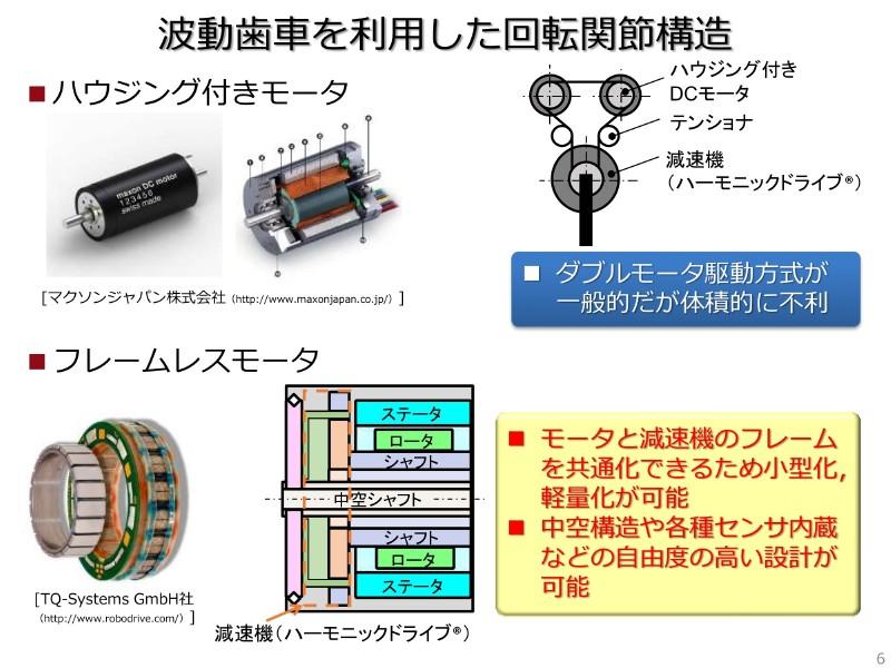 波動歯車を使った関節構造