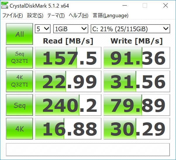CrystalDiskMark。Seq Q32T1 Read 157.5/Write 91.36、4K Q32T1 Read 22.99/Write 31.56、Seq Read 240.2/Write 79.89、4K Read 16.88/Write 30.29(MB/s)