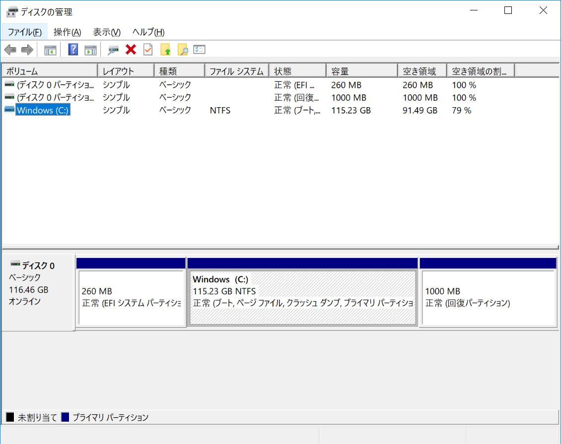 eMMCのパーティション。Cドライブのみの1パーティションで115.23GBが割り当てられている