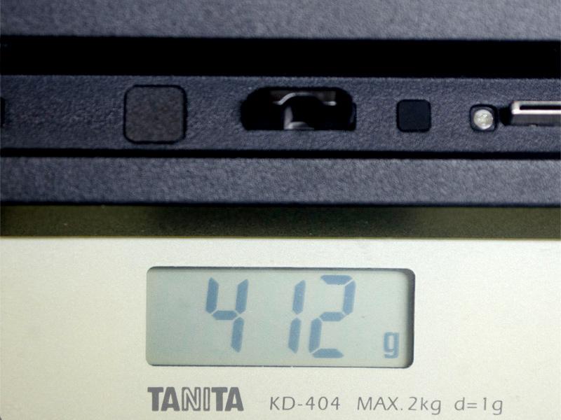 クレードルの重量。実測で412g