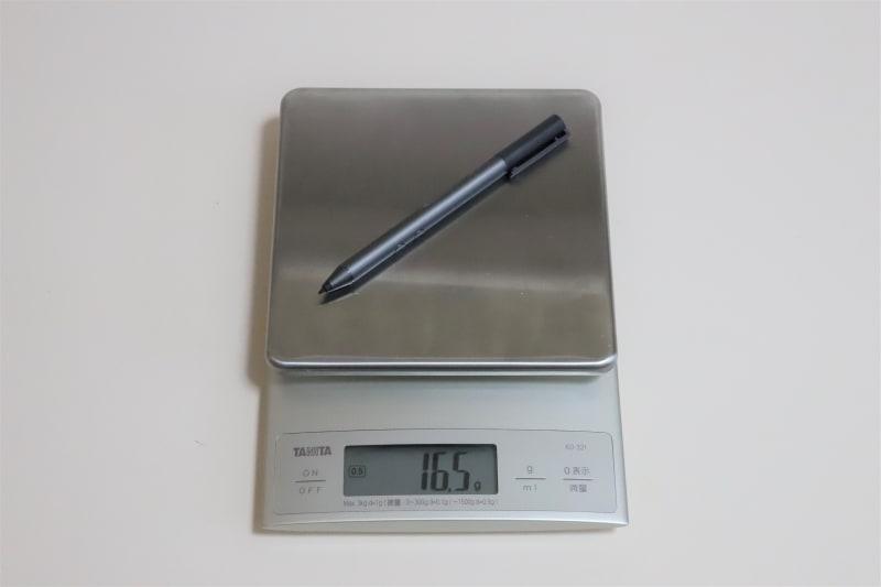 Spectreアクティブペンの実測重量は16.5g