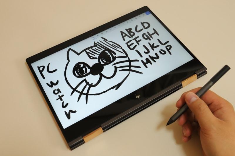 Spectreアクティブペンの書き味はかなり硬め。もし筆者がHP Spectre x360を購入したら、保証はないがSurfaceペンを利用する