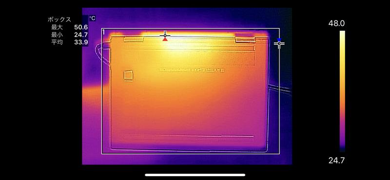 底面の最大温度は50.6℃。キーボード面、底面ともにかなり温度が高めだ