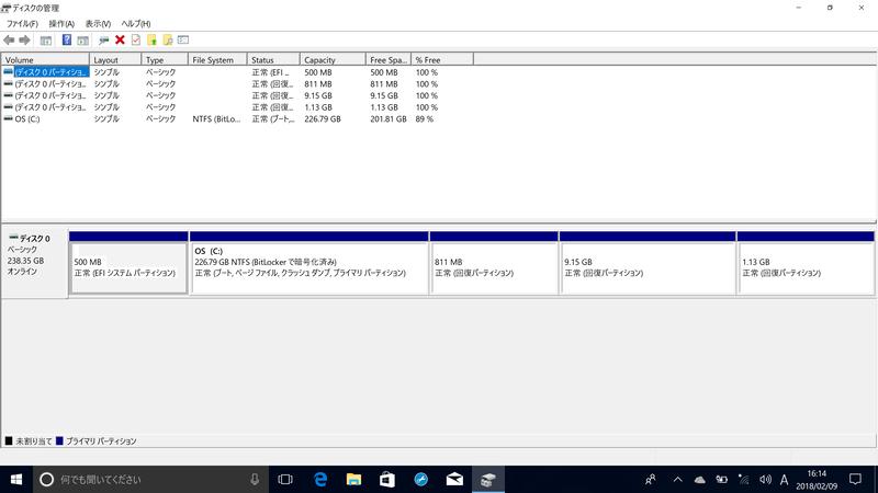 初回起動時のディスク情報。空き容量は201.81GB