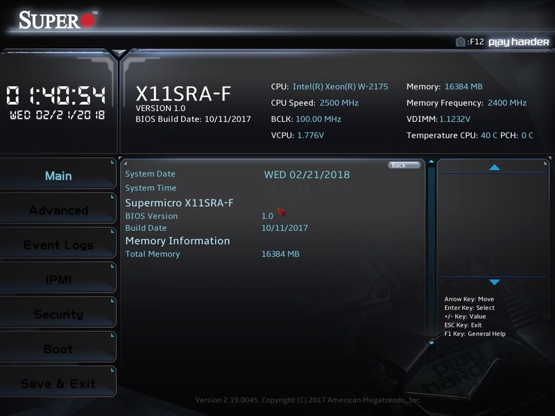 X11SRA-FのUEFI画面