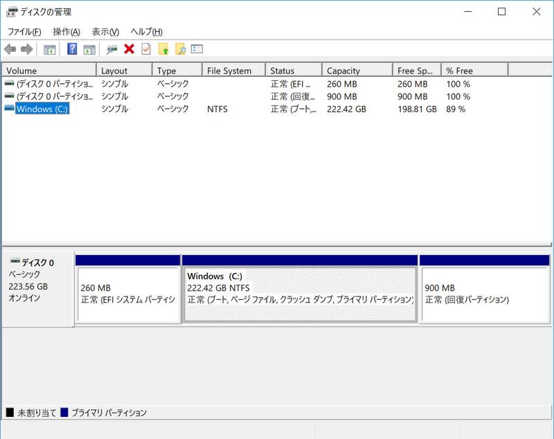 ストレージのパーティション。C:ドライブのみの1パーティションで約222.4GBが割り当てられている