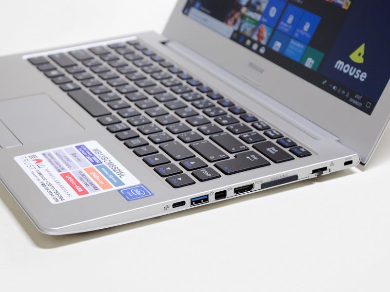 右側面。ロックポート、Ethernet、カードリーダ、HDMI、Mini DisplayPort、USB 3.0、Type-C