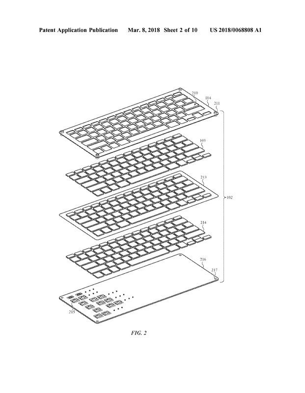 キーキャップを3重構造とし、1層目と2層目のあいだにシートを挟む