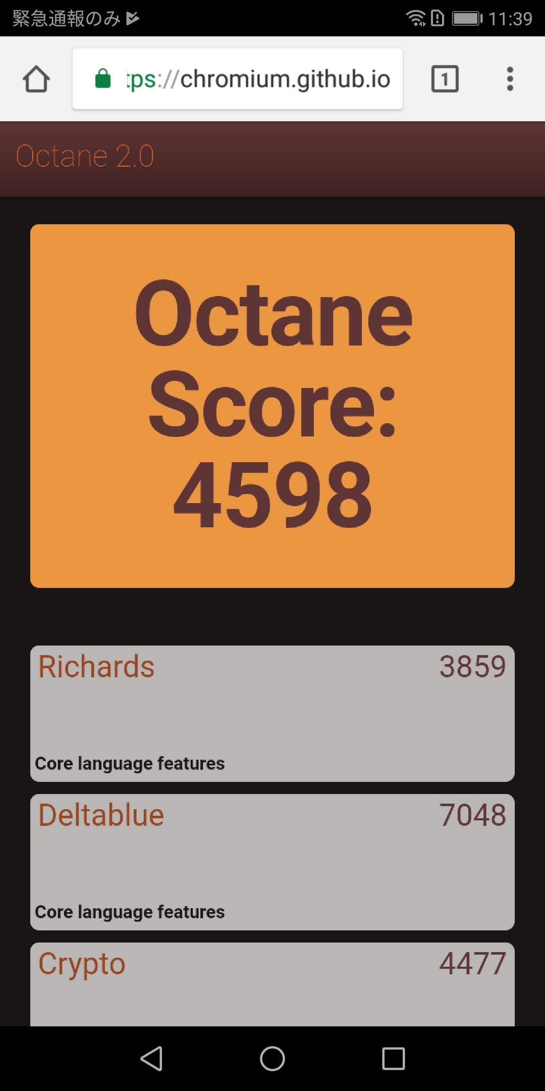 Google Octane 2.0は4,598