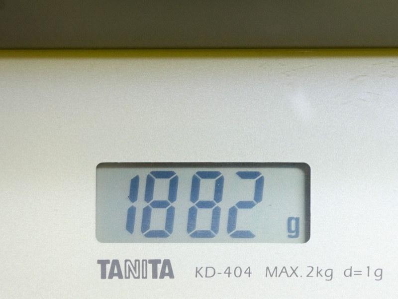 重量実測で1,882g
