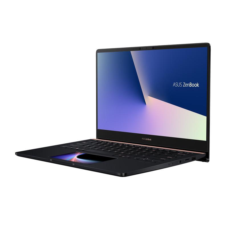 ZenBook Pro 14(UX480)、15型と同じようにScreenPadが用意されているほか、ErgoLiftヒンジというユニークなヒンジ機構を採用している