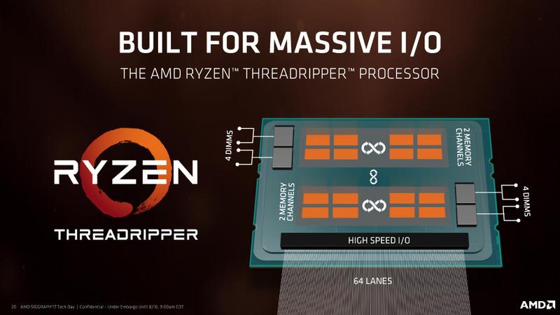 第1世代のRyzen Threadripperは、4メモリチャネルと64レーンのPCI Expressを備えている