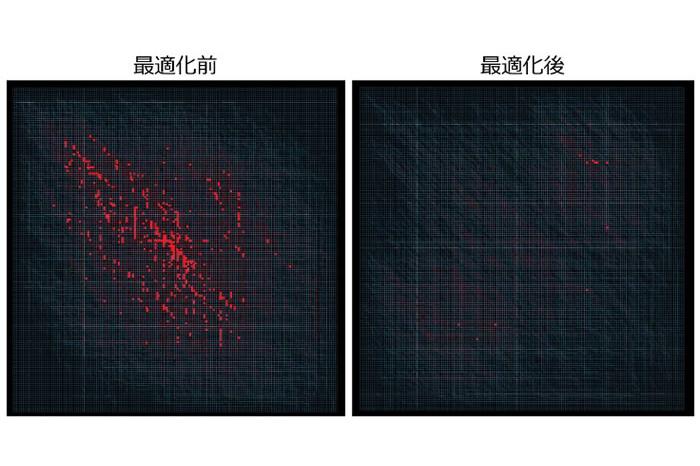 約5km四方のエリアで都市交通最適化シミュレーションを実行した例。移動経路の最適化により、混雑箇所を示す赤い点が減少している