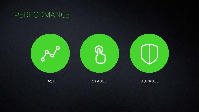 オプトメカニカルスイッチは、「高速」「安定性」「高耐久性」という3つの特徴を持つ