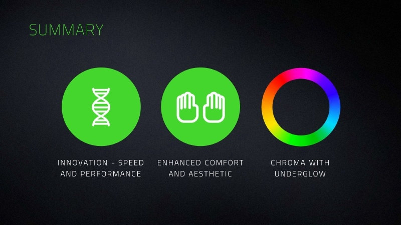 まとめ。「速度とパフォーマンスの革新」、「快適さと審美性の強化」、「Chroma with Underglowによるライトアップ」がHuntsman Eliteの特徴である
