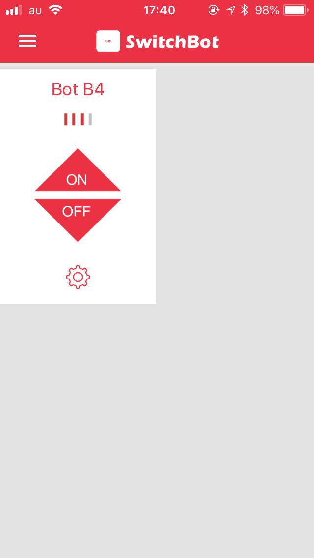 これにより、アプリの操作ボタンが「ON」と「OFF」の2つに分かれる