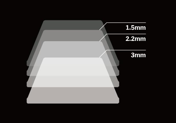OFFの状態から押し込んでいくと、通常のキーボードは2.2mm付近でONになり、3~4mmで底打ち(ボトムアウト)する。アクチュエーションポイントを浅くすれば、コンマ何秒か打鍵を速くすることができる