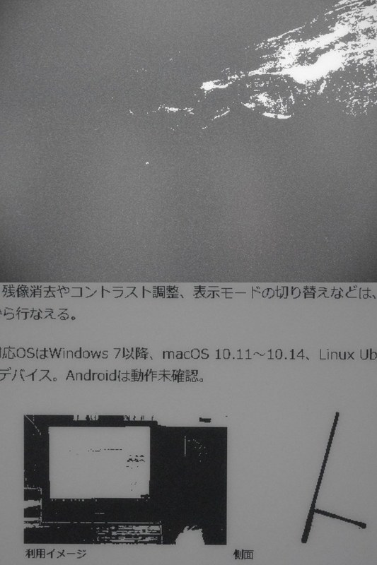 A2モード。完全な白黒2値で、写真内の人物も完全につぶれてしまっており視認できない。Webページもどこがリンクなのか判別できない