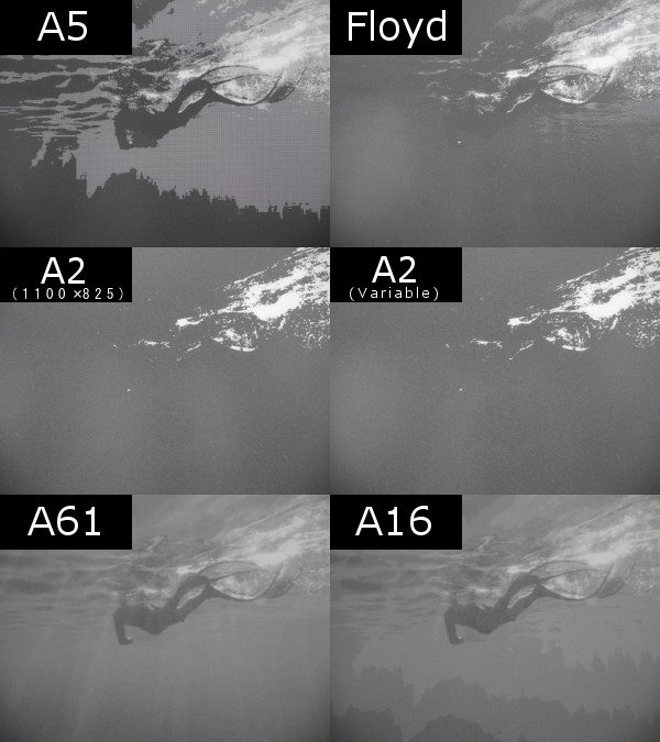 写真表示の違いの比較。A61>A16>Floyd>A5>A2(Variable)=A2(1100×825)といったところだろうか