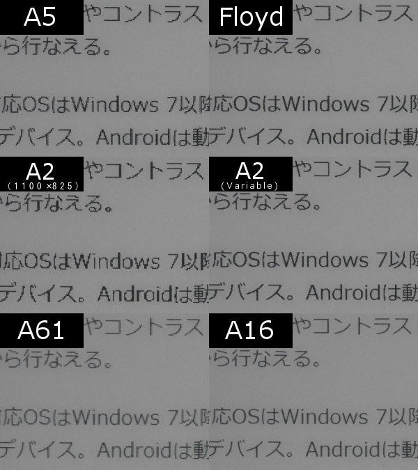 テキスト表示の違いの比較。この画像だけだとA16>A61>Floyd>A2(Variable)>A5>A2(1100×825)の順になるが、後述のコントラスト調整でも見え方はやや変わる