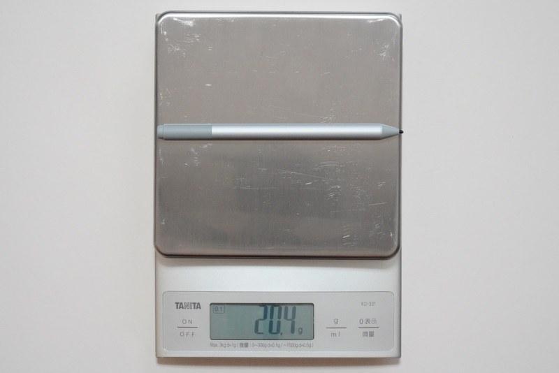 Surfaceペンの実測重量は約20.4g
