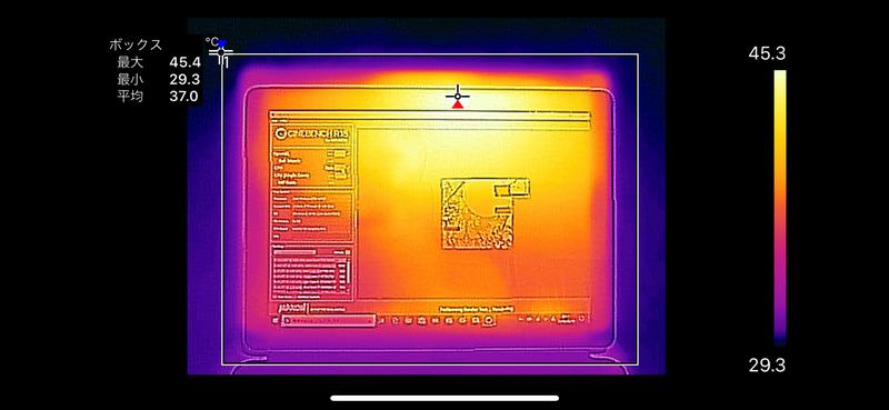 CINEBENCH R15のCPUを連続で5回実行したさいのディスプレイ面の最大温度は45.4℃