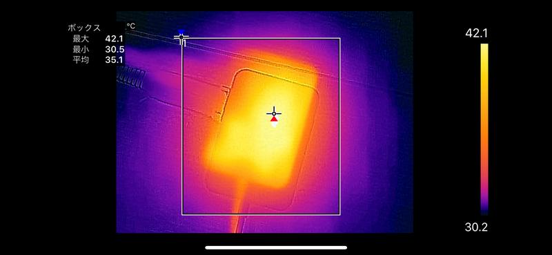 ACアダプタの最大温度は42.1℃