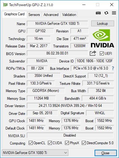 GeForce GTX 1080 TiのGPU-Z実行画面