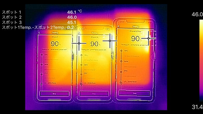 X、XS、XS Maxともに発熱は右側に集中している。ここにはA11/A12 Bionicを実装した基板が内蔵されている