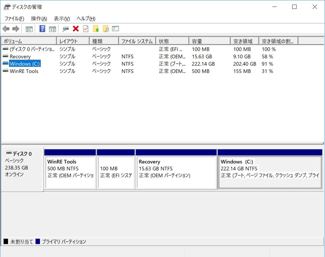 ストレージのパーティション。Cドライブのみの1パーティションで約222.14GBが割り当てられている