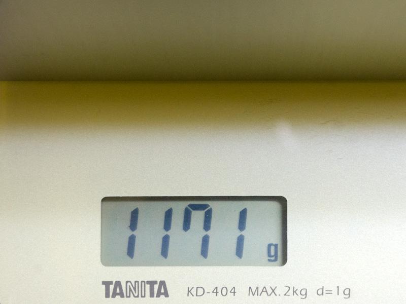 重量は実測で1,171gと、若干仕様よりも軽い