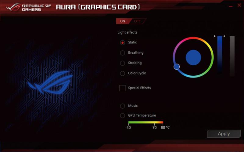 ビデオカードはASUSTeK製なので、LEDの制御には同社のユーティリティ「Aura」の導入が必要。複数の発光パターンがあり、GPU温度に合わせて変化も可能だ
