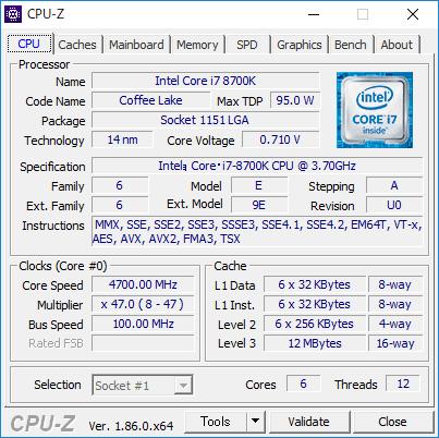 6コア12スレッドCPU「Core i7-8700K」
