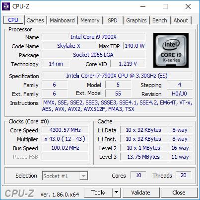 10コア20スレッドCPU「Core i9-7900X」
