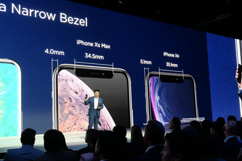 iPhone XS/XS Maxよりも切り欠きやフレーム幅が狭いとアピール