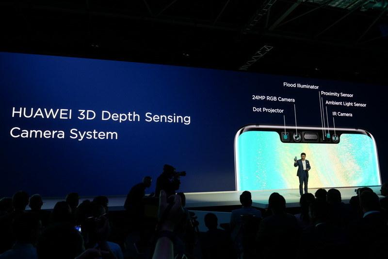 Mat 20 Proのフロントカメラには、赤外線カメラやドットプロジェクタなどを組み合わせた3D Depth Sesing Cameraを採用