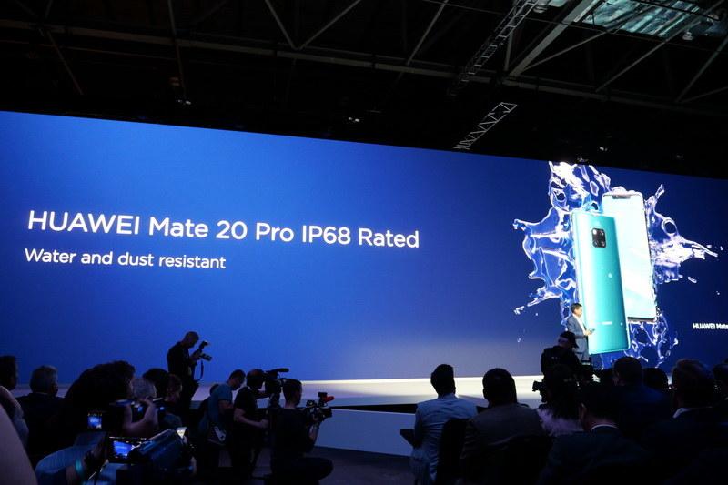 Mate 20はIP52、Mate 20 ProはIP68準拠の防水機能に対応