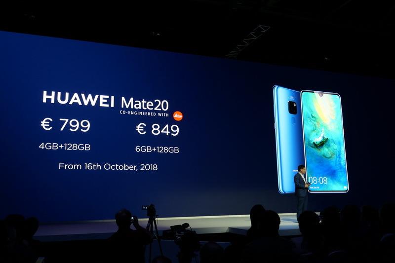 Mate 20はRAM 4GB/内蔵ストレージ128Gで799ユーロ、RAM 6GB/内蔵ストレージ128GBで849ユーロで、10月16日より販売