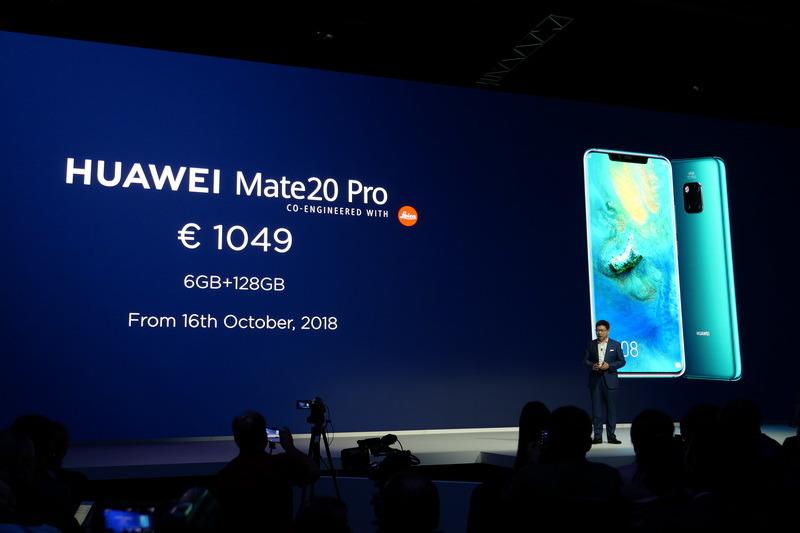 Mate 20 ProはRAMが6GB/内蔵ストレージ128GBで1,049ユーロ、10月16日より販売