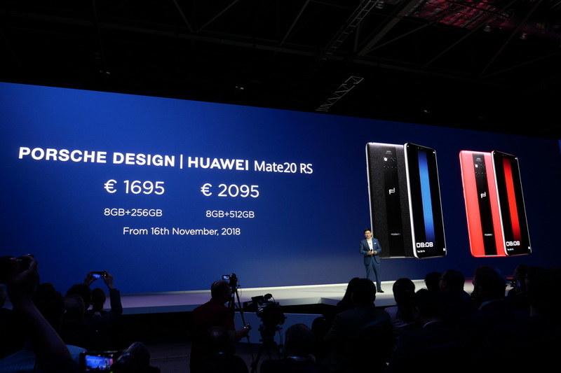 Mate 20 RSはRAM 8GB/内蔵ストレージ256GBで1,695ユーロ、RAM 8GB/内蔵ストレージ512GBで2,095ユーロで、11月16日より販売