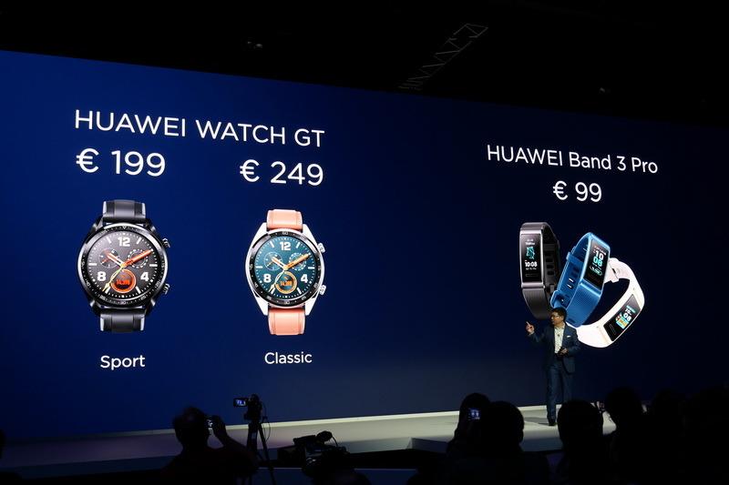 Huawei Watch GTの価格は、Sportモデルが199ユーロ、クラシックモデルが249ユーロ。Huawei Band 3 Proの価格は99ユーロ