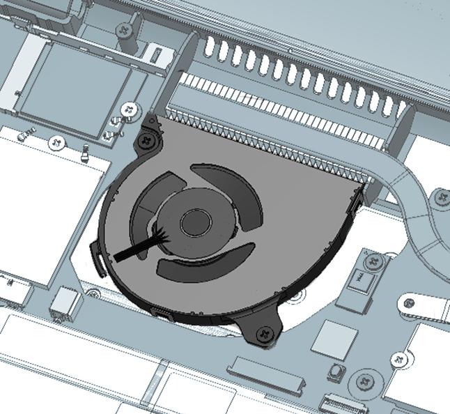 若干の配置変更と実装領域が5mm拡大されたファン
