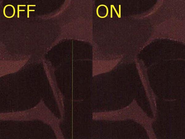 縦筋軽減がオフの場合(左)とオンの場合(右)の比較。縦筋が消えていることが分かる